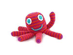 Pebble | Handmade Octopus Baby Rattle-Bright Pink | Ocean | Beach | Coastal | Crochet Baby Toy | Fair Trade | Machine Washable
