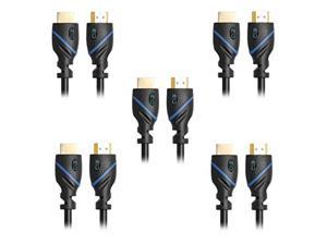 C&E High Speed HDMI Cable with Ethernet Black (15 Feet/04 Meters) Supports 4K 3D and Audio Return (5 Pack)