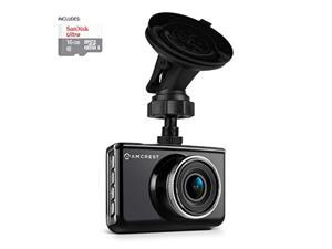 Amcrest Full-HD 1080p Dash camera AcD-830B (Black) car DVR Dashcam with 16gB Micro SD card, Suction cup Mounting Bracket, 160 Degree Wide Viewing Angle