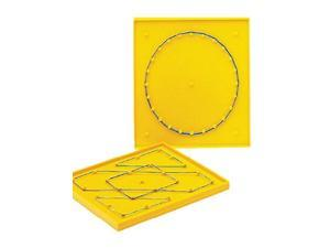 School Smart Double Sided Geoboard with Rubber Bands 6 x 6 Inches - 091461