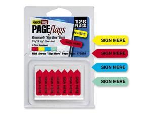 Redi-Tag 72020 Mini Arrow Page Flags Sign Here Blue/Mint/Red/Yellow 126 Flags/Pack