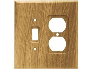 Brainerd 64677 Wood Square Single Toggle Switch/Duplex Outlet Wall Plate / Switch Plate / Cover Medium Oak
