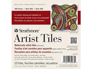 """Strathmore 400 Series Watercolor Artist Tiles Cold Press 6""""x6"""" 10 Sheets"""