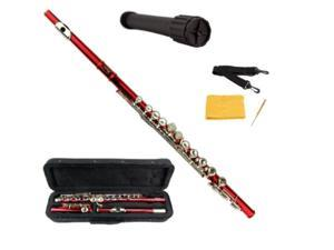 Merano Red Flute with Carrying case