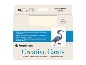 """Strathmore 105-130-1 creative cards and Envelopes, 5"""" x 6.875"""", Ivory Deckle, 10 Pack"""