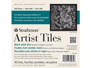 "Strathmore 105-974 400 Series Artagain Artist Tiles Coal Black 6""x6"" 30 Sheets"