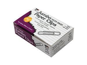 Charles Leonard Paper Clips Non-Skid Jumbo Silver 100 Per Box 10 Boxes