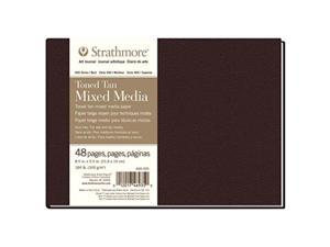"""Strathmore 469-305 Hardbound Mixed Media Art Journal 8.5"""" x 5.5"""" Toned Tan 48 Pages"""