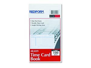 Rediform Employee Time Card Weekly 4.25 x 7 Inches 100 per Pad (4K409)