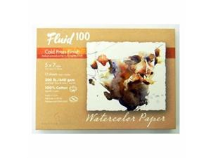 Speedball Art Products 821705 Fluid 100 Artist Watercolor Paper 300 lb cold Press, 5 x 7-Inch Pochette, 100% cotton Natural White 12 Sheets