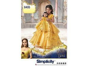 Simplicity 8405 Disney Beauty and the Beast Princess Belle Costume for Girls and 18 Dolls Sewing Pattern Sizes 3-8