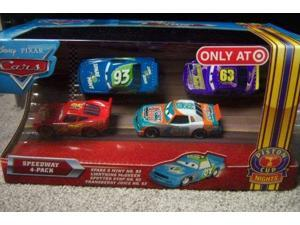 Disney / Pixar CARS Movie Exclusive 155 Die Cast Piston Cup Nights Speedway 4Pack Spare O Mint, Lightning McQueen, Sputter Stop Transberry Juice