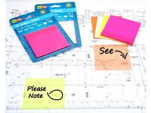 Redi-Tag SeeNote Stickies Transparent Sticky Notes 50-Pack 3 x 3 Inches Neon Orange (23773)