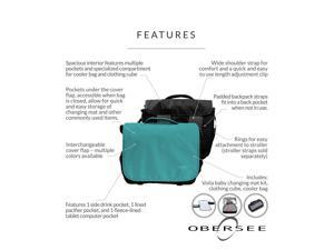 Obersee Madrid Diaper Messenger Bag | Convertible Backpack | Viola Baby changing kit | clothing cube | Baby Bottle Cooler | Clips to Stroller