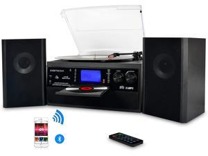 DIGITNOW Bluetooth Record Player Turntable with Stereo Speaker, LP Vinyl to MP3 Converter with CD, Cassette, Radio, Aux in and USB / SD Encoding, Remote Control, Audio Music Player Built in Amplifier