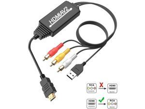 HDMI to RCA, HDMI to RCA Converter Adapter, 1080P HDMI to AV 3RCA CVBs Composite Video Audio Supports NTSC for PC, Laptop, HDTV, DVD, VHC VCR