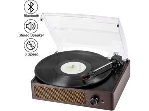 Bluetooth Record Player Belt-Driven 3-Speed Turntable, Vintage Vinyl Record Players Built-in Stereo Speakers, with Headphone Jack/ Aux Input/ RCA Line Out
