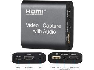Audio Video Capture Card, USB 2.0 1080P 60FPS HDMI Video Game Capture Card with Loop Out,Record High Definition Game Capture Recording Box Ultra Low Latency Video Grabber