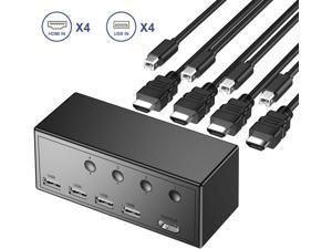 4 Ports HDMI KVM Switch Box, 4 USB 2.0 Hub, UHD 4Kx2K @30Hz & 3D & 1080P Supported and Wireless Keyboard Mouse, Share 4 Computers with one Keyboard Mouse and HD Monitor, with 4 USB-B and HDMI Cables