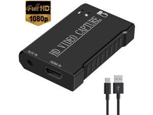 Audio Video Capture Cards HDMI to USB 2.0, Full HD 1080P 60FPS for Game Recording, Live Streaming Broadcasting