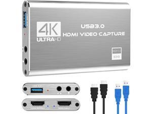 4K Audio Video Capture Card, USB 3.0 HDMI Video Capture Device, Full HD 1080P for Game Recording, Live Streaming Broadcasting-Silver