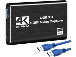 4K Audio Video Capture Card, USB 3.0 HDMI Video Capture Device, Full HD 1080P for Game Recording, Live Streaming Broadcasting