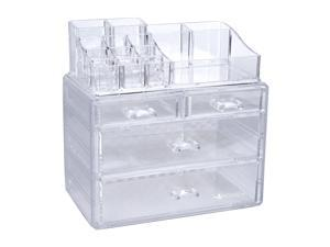 Cosmetics Rack Multifunction Clear Makeup Organizer Shelf Storage Box for Cosmetics Brushes Tabletop Cosmetic Storage Stand Holder
