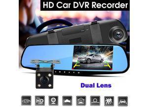 4.3 1080p Dual Lens Car DVR Reverse + Rear View Camera Kit HD LCD Mirror Monitor