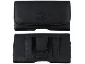 Motorola Droid RAZR M / Luge Premium High Quality Black Horizontal Leather Case Pouch Holster with Belt Clip and Belt Loops