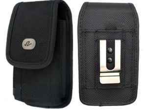 Motorola Droid RAZR M / Luge Premium High Quality Black Vertical Rugged Case Pouch Holster with Belt Clip and Belt Loops