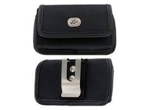 Motorola Droid RAZR M / Luge Premium High Quality Heavy Duty Black Horizontal Rugged Canvas Holster w/ Metal Belt Clip and Belt Loop