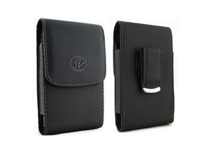 Motorola Droid RAZR M / Luge Premium High Quality Black Vertical Leather Case Pouch Holster with Belt Clip
