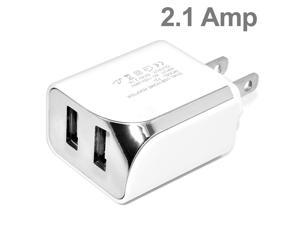 Premium White Heavy Duty 2 in 1 DUAL Port Home Wall Charger and 5 Ft Micro USB Cable for Motorola Droid RAZR M / Luge