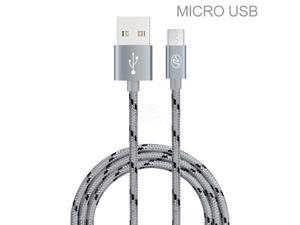 For Motorola Droid RAZR M / Luge Premium 10 Ft Gray Braided Micro USB/V8/V9 Data Sync Charge Cable