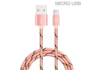 Premium 10 Ft Pink Braided Micro USB/V8/V9 Data Sync Charge Cable for Motorola Droid RAZR M / Luge
