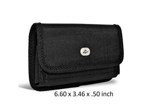 961655e9ba6156 Large Horizontal Rugged Nylon Canvas Carrying Holster Case with Metal Belt  Clip & Loop Compatible with