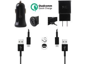 Genuine Adaptive Charger Set Compatible with Essential Phone Phones - [1 x USB Wall + 1 x USB Car Charger + 2 x Type-C Cable] - 50% Faster Charging - Black