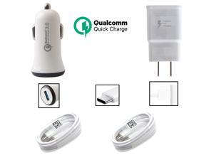 OEM Adaptive Charger Kit Compatible with Lenovo ZUK Z1 Cell Phones - [1 x USB Wall + 1 x USB Car Charger + 2 x Type-C Cable] - 50% Faster Charging - White