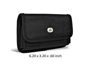 Heavy Duty Sideways Rugged Nylon Canvas Carrying Case with Metal Belt Clip & Loop Compatible with BLU Studio C HD Devices - (Fits With Otterbox Defender, Commuter, LifeProof Cover On It)