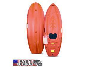 SeaFlo Beginner Kayak Kids Youth Paddle Lake Ocean Red Single Person 130lb Max