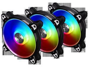 LIAN LI BORA DIGITAL Series RGB BR DIGITAL-3R B, 120mm Addressable RGB LED PWM Fan, 3 FANS Pack - Black Frame
