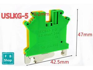 5pcs USLKG-5 yellow-green Pure copper earth terminal row double-color earthing terminal guide terminals grounding terminal