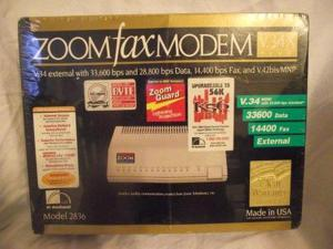 Zoom 36.6K Non-Upgradeable External Faxmodem for PC 2836-00-00