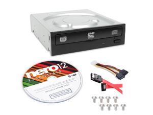 Lite-On Super AllWrite IHAS124-04-KIT 24X DVD+/-RW Dual Layer Burner + Nero 12 Essentials Burning Software + Sata Cable Kit