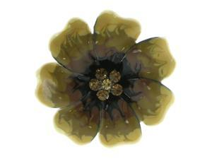 Black & Yellow Colored Metal Brooch-Pin With Crystal Accents LQP647