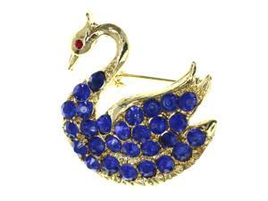 Swan Brooch-Pin With Crystal Accents Gold-Tone & Blue Colored #LQP1481