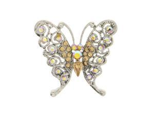 Butterfly Brooch-Pin With Crystal Accents Silver-Tone & Yellow Colored #LQP1169