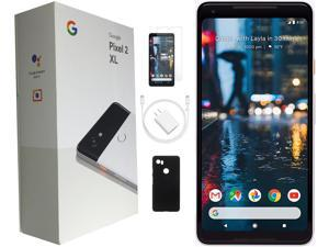 Google Pixel 2 XL 128GB Black and White Factory Unlocked 6-inch - Plus Bundle Includes Case and Tempered Glass!