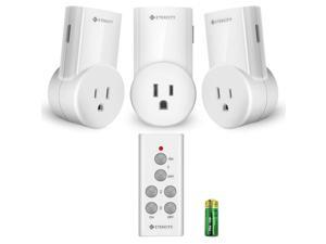 Etekcity Remote Control Outlet Wireless Remote Light Switch for Lights, Lamps, Fans, Household Appliances, Up to 100 ft. Range, FCC, ETL Listed (Learning Code, 3Rx-1Tx)