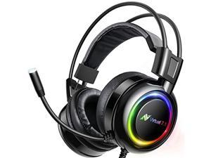 ABKONCORE Shoker Gaming Headset with Noise Canceling Mic - PC Headset with Dynamic Sensory, 7.1 Surround Sound, Soft Memory Foam, RGB Light for PC, Laptop, Mac